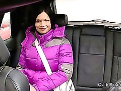 Brunette with nice tits fucks in fake taxi