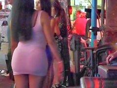 Ladyboy flashing ass in Public