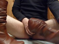 Wifes brown leather boots Cum