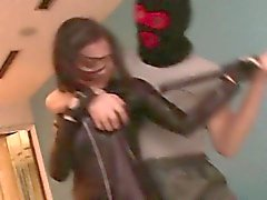 Leather clad Japanese stunner Aimi gets fucked and facialed