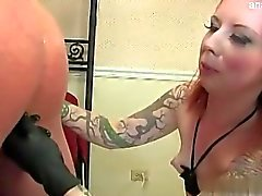 Big tits model ball licking