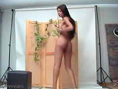Breathtaking tranny is dancing nude shaking her big boobies