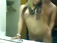 Assfucking a loud blond slut in front of the mirror