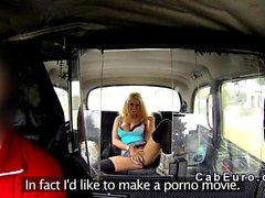 blonde pornstar masturbates in fake taxi