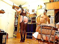 Yoke pillory & dental gag fun for whip dancing slut TRAILER