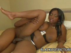 Curvy black babe Sky Black getting her pussy fucked