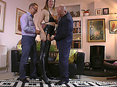 Tall British chick in hot latex boots enjoys 2 knobs