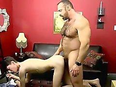 Naked guys While railing that cock, Benjamin blows his geyse