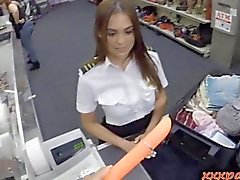 Pretty flight attendant is strapped for cash so she fucks