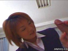 Tender Japanese schoolgirl enjoys taking in a big
