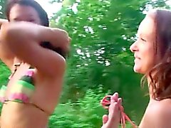 Babes sucking and screweing in the forest