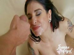 Goth whore Joanna Angel takes an insane fucking from 8 men at once