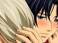 Two hentai omosessuali si baciano e avendo l'amore nella matrimoniale