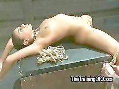 Brunette Babe vastgebonden en geklemd is tegelijkertijd vervolgens gelegd op neuken doos met gespreide benen
