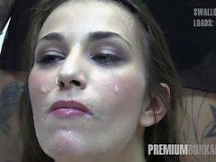 Prima Bukkake - Alma swallows 64 enormes cargas de cum bocado