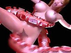Muchacha 3D destruida por el tentáculos de !