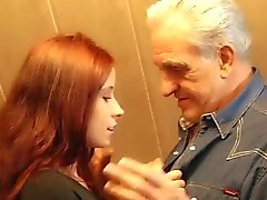 Grandpa gets sexual thanks from hussy redhead teen