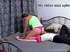 Lesbian rides slaves face
