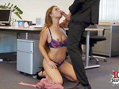 Brunette secretary sex and cumshot
