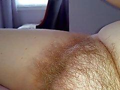 ma femme a caressig les longs poils de son propre minou poilu