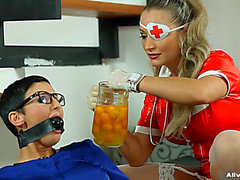 Latex Nurse Pours Thick Yellow Jism On A Honey In A Blouse