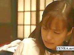 Ondertiteld lesbische Japanse schoolmeisje klaslokaal bondage