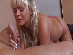 Blonde hottie Bree Olson rodeos prick before wanking a portion in her mouth