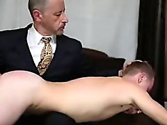 Older gay guy spanks and jerks young straight guy
