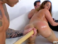 cathy gets the baseball ball bat up yhe arse treatment great girl