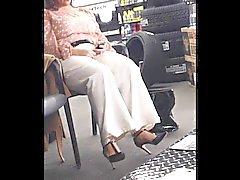 Voyeur of Plus size milf in high heels.