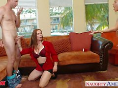 Naughty moms Diamond Foxxx and Marsha May share cock