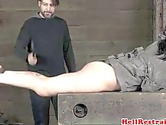 Ball gagged roughly spanked sub ass is red
