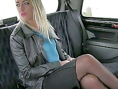 Booby blonde amateur has sex in the cab