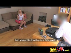 FakeAgentUK Cute big titted blonde gets eyes glued shut after massive facial