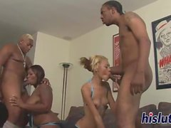Hot foursome session with two saucy honeys