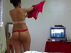 Ass Spy Aunty in tanga thong string 2