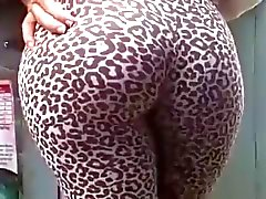 Snäva ass litegrann i leoparden leggings