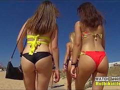 Increíble adolescente Culo primer plano de bikini de la playa voyeur