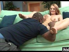 Slutty girl enjoys his big black cock
