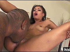Amazing black chick loves his black donger