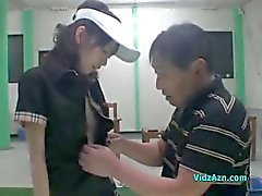 Asian Girl With Small Tits Getting Her Pussy Fucked By Her Golf Instructor