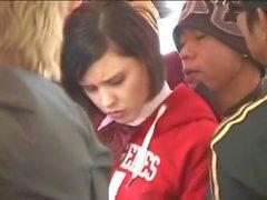 White School teen in uniform groped in Bus Public Amwf