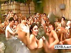 Subtitled japanische gyaru bath Orgie mit vollkommener abspritzen