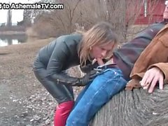 Mature Man Gets His Dick Sucked By A Tranny At The Lake
