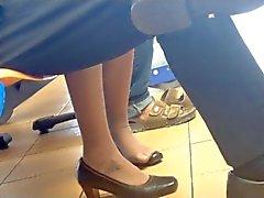 Candides asiatique jeux de chaussures Trempage Feet en nylons Hôtesse