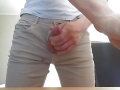Jerk off in jeans and hands free cum