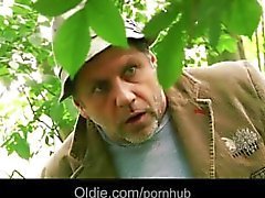 Wicked old forester guy fucks redhead teenie in the woods