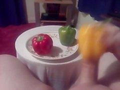 Wank JA CUM käyttäen 3 Peppers