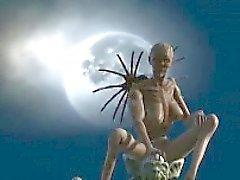 Foxy 3D cartoon alien babe riding a cock outdoors