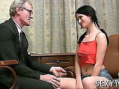 Amazing chick is engulfing teacher's dick